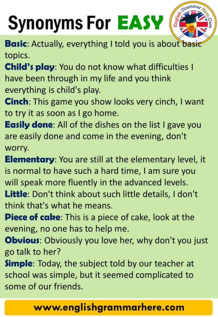 Synonyms Easy Definition And Examples Another Words For Easy Synonym Words For Easy Every Languag Easy English Grammar English Vocabulary Words English Words