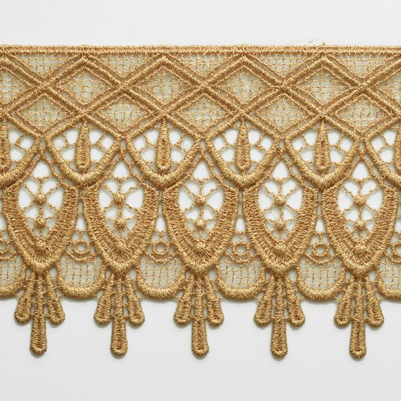 4-3/8 Inch Metallic Lace Trim for Bridal Costume or Jewelry
