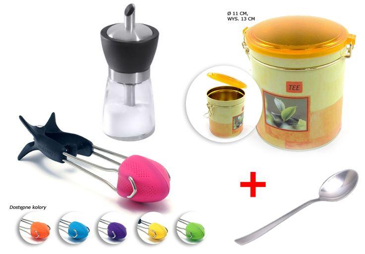Wiosenna puszka na herbatę; Cukiernica rurkowa z dozownikiem; Zaparzaczka do herbaty Teafu !; Łyżeczka do herbaty Luisa Gratis !