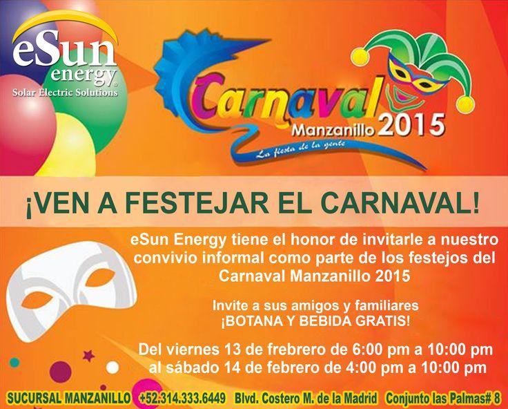 Festeja el carnaval Manzanillo 2015 con eSun Energy. Hoy 13 de febrero del 2015 eSun Energy con motivo del Carnaval Manzanillo 2015 ofrecerá botanas y bebidas gratis a partir de las 6:00 pm hasta las 10:00 pm. A todos los que lleven su recibo de CFE se les hará una cotización gratis.#eSunEnergy #CarnavalManzanillo