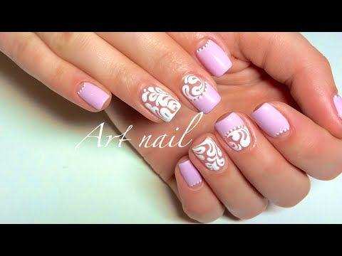 Завитки на Ногтях! Вензеля! Дизайн Ногтей Гель-Лаком! Лунный Маникюр! Nail Art Designs - YouTube