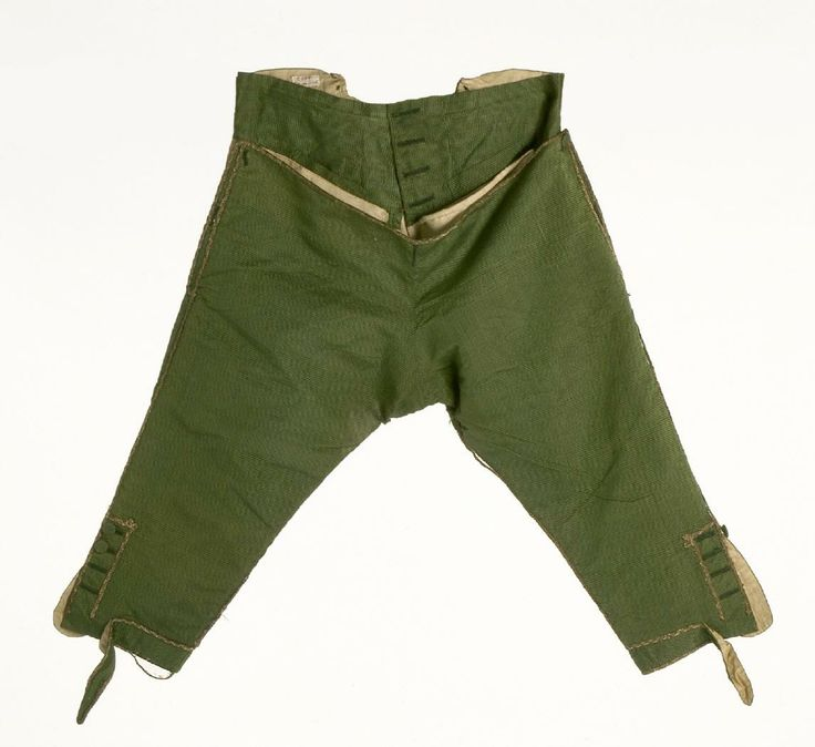 Breeches, 1785-1795, Spain. Iridescent silk in green and beige.