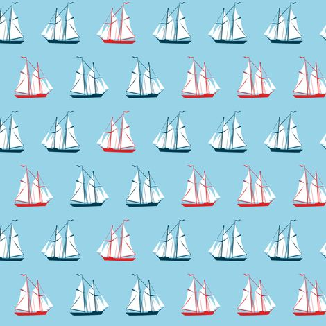 sailing ships - red and blue fabric by ravynka on Spoonflower - custom fabric