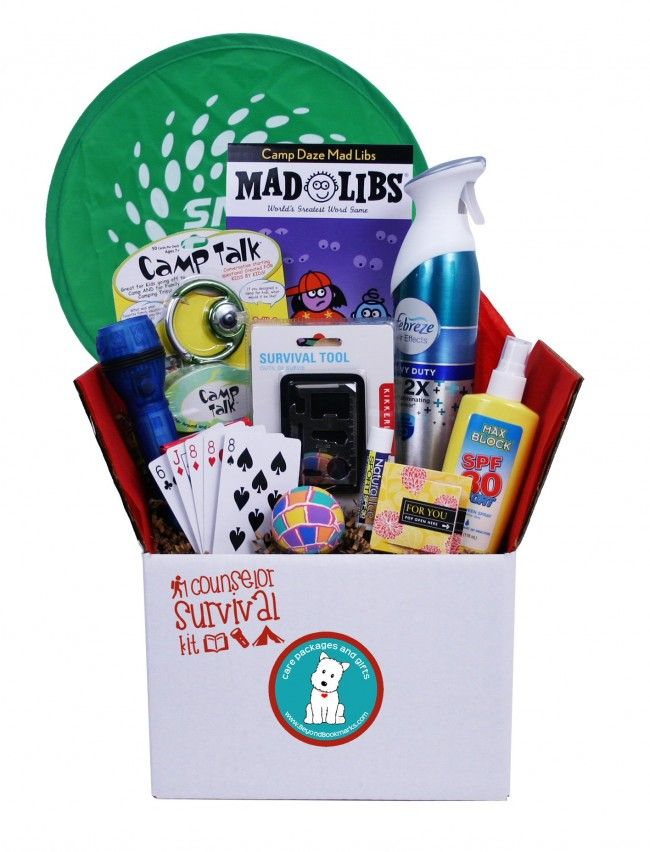 Don't forget the Camp Counselor - there will be times when he or she needs some help to keep their troops happy and busy. Send this Survival Kit at the beginning of the summer or as a mid session surprise! Full of things they need, like a flashlight, Febreze, sunscreen as well as things to keep the kids occupied and out of their hair.
