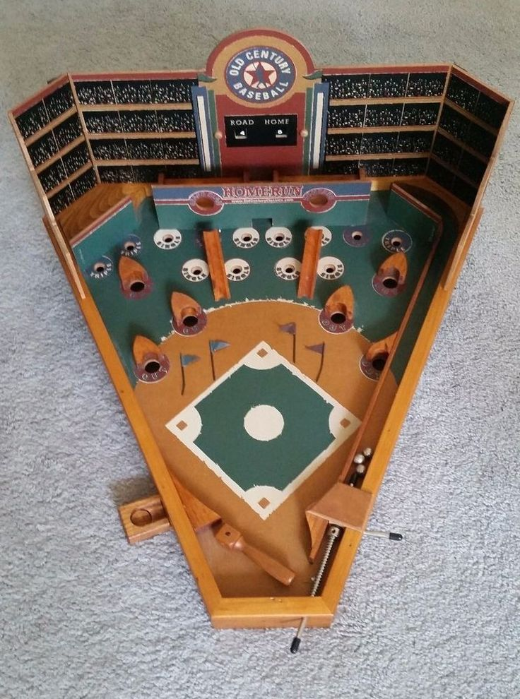 Old Century Classics Baseball Pinball Style Game All Wood
