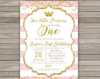 Invitación de fiesta de cumpleaños de princesa real rosa oro