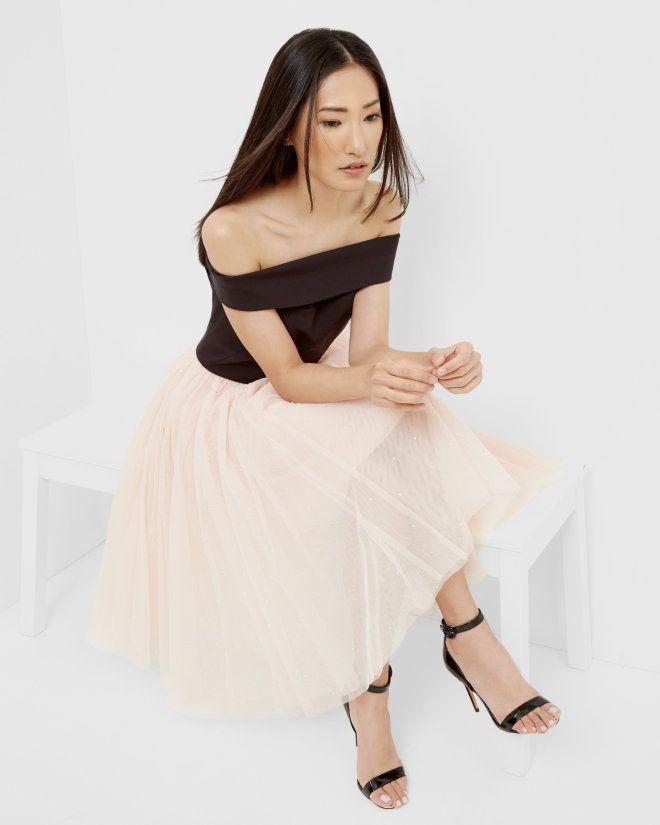 Pink n black dress midi