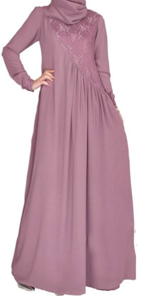 Feel like a princess this Eid season with this elegant flare abaya with lace bodice.