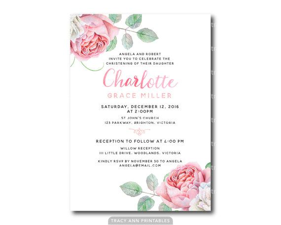28 best christening invitations images on pinterest christening roses christening invitation girl baptism by tracyannprintables stopboris Image collections