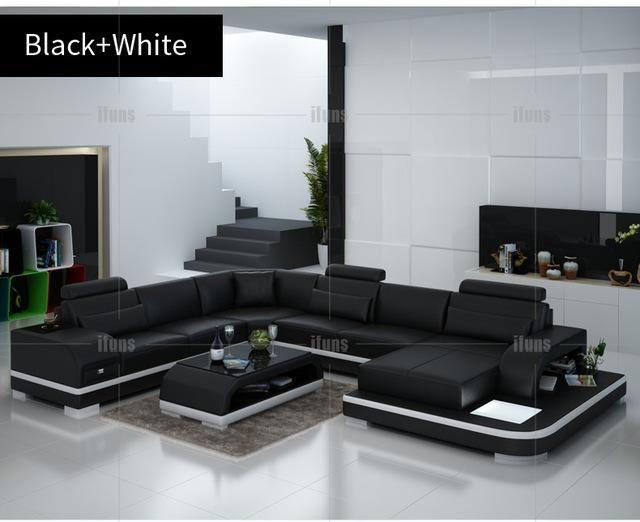 Ifuns Orange And White Customized Color Italian Leather Sofa U Shaped Luxury Sofa Sectio Living Room Sets Furniture Living Room Sofa Set White Sofa Living Room
