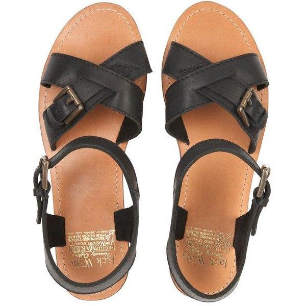Haslehurst Sandal (86 BRL) ❤ liked on Polyvore featuring shoes, sandals, flats, black, kohl shoes, black sandals, black flats, jack wills and jack wills shoes