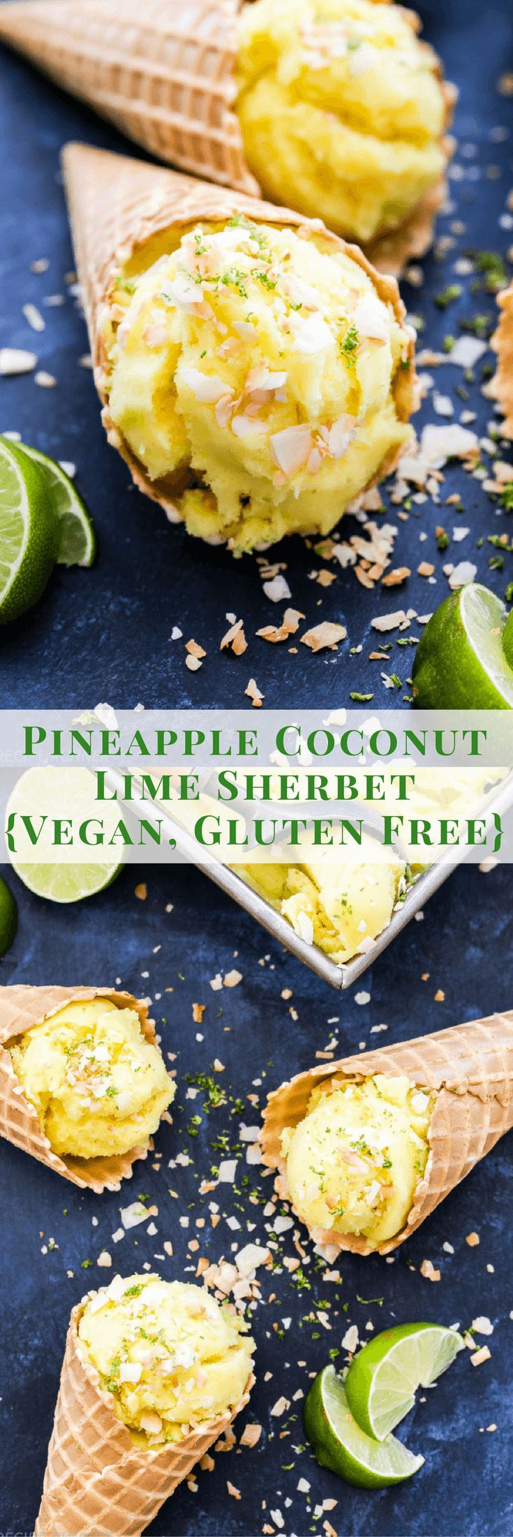 Pineapple Coconut Lime Sherbet is a refreshingly light and dairy free dessert to cool off with this summer! This tropical treat will have everyone asking for seconds!