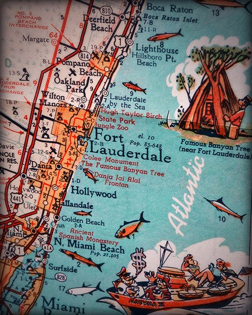 Fort Lauderdale Hollywood beach retro beach map print ...