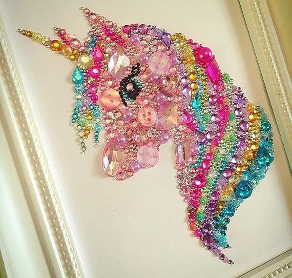 Unicorn gift unicorn picture Swarovski crystal button