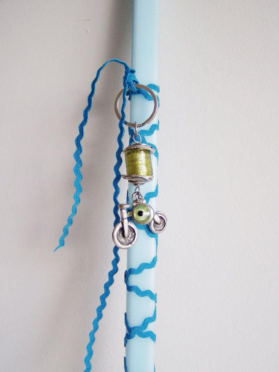 Greek Easter candle for boys pale blue by ArktosCollectibles