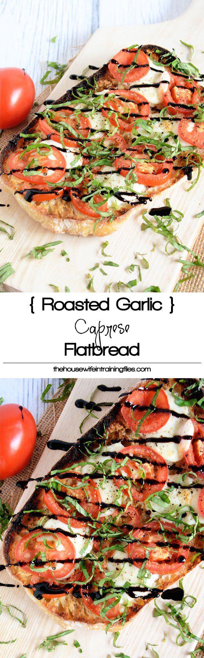 A Caprese Ciabatta Flatbread spiced up with a roasted garlic spread, roma tomatoes, fresh mozzarella and a balsamic drizzle!