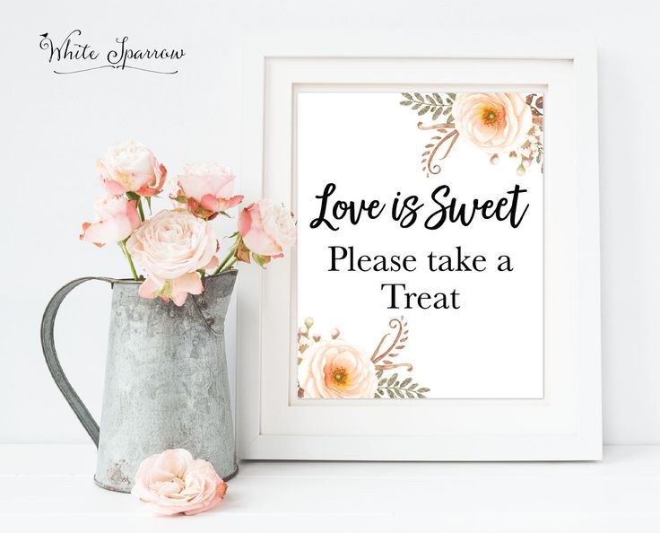 wedding decor, bridal shower, wedding shower, Love is Sweet, please take a treat sign, favor sign, Candy bar sign, bridal shower sign, signs by WhiteSparrowPrints on Etsy