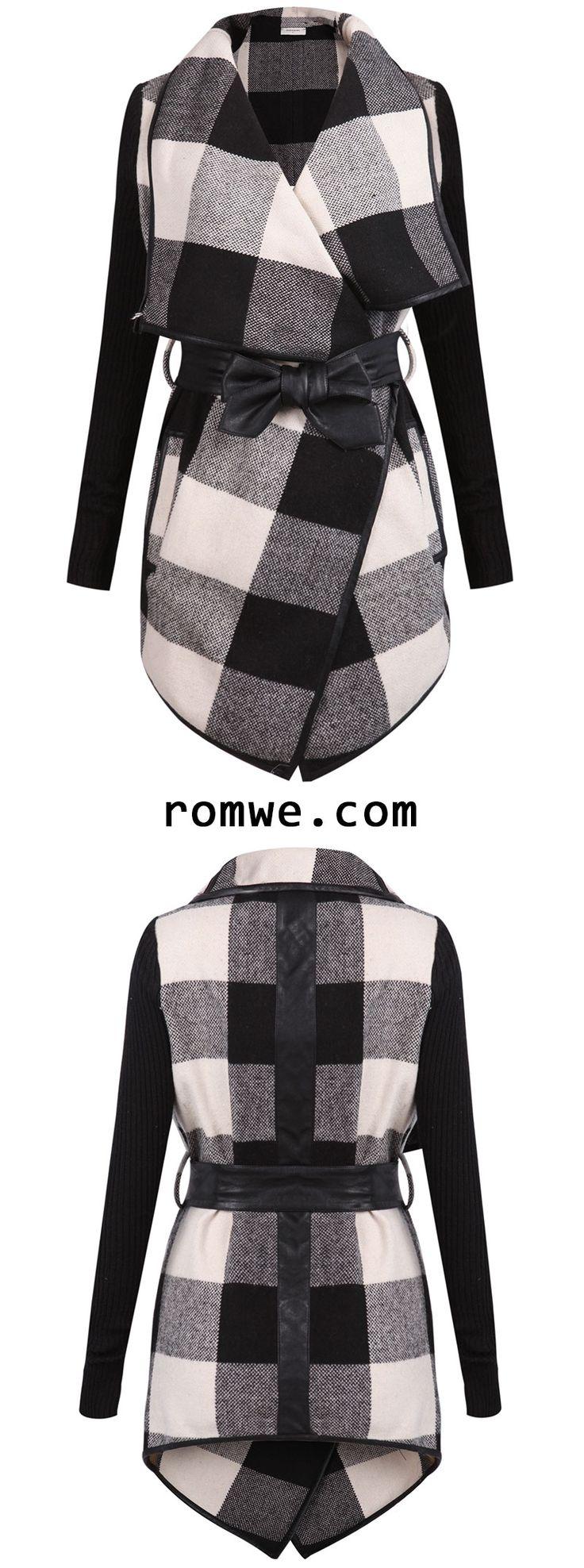 Black White Long Sleeve Plaid Belt Coat