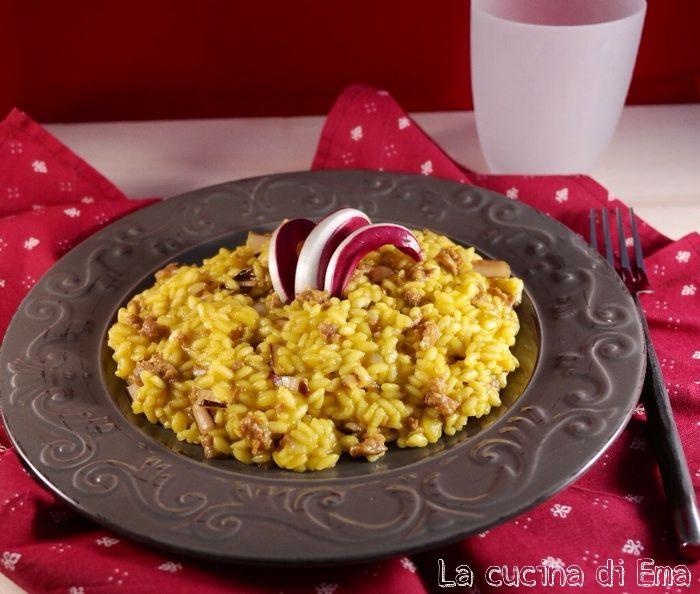 Risotto+giallo+con+radicchio+e+salsiccia
