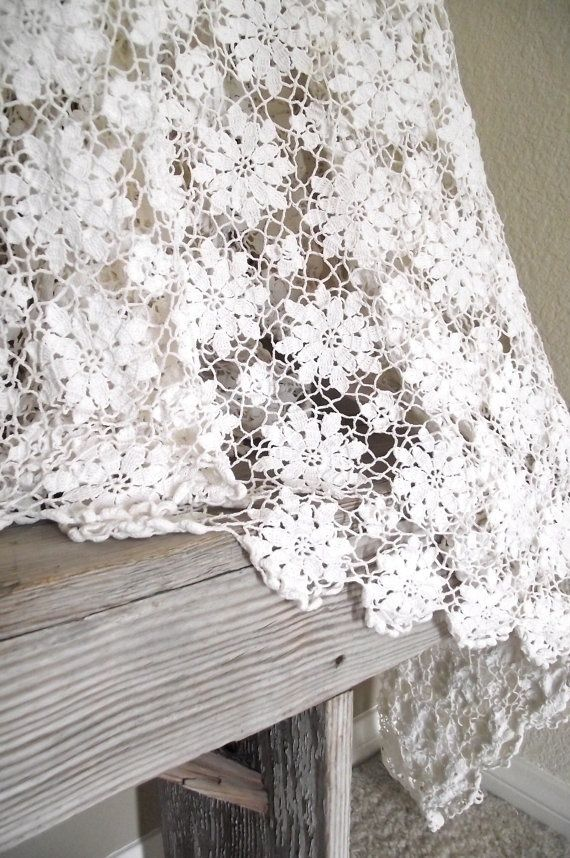 crochet tablecloth 2. Could be curtains or a bedspread also...