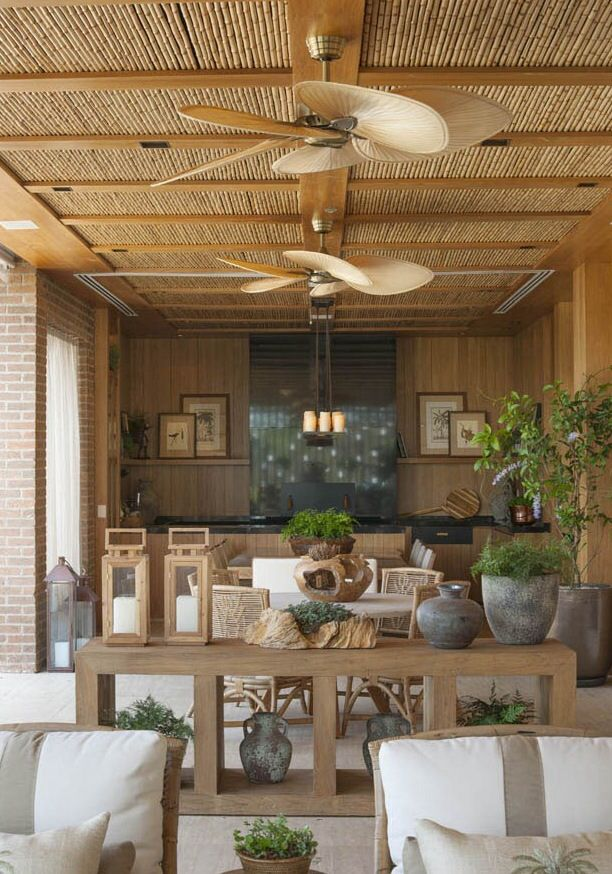 Summer style!! Elegant outdoor terrace veranda deck with outdoor ceiling fans and outdoor kitchen! Look at the perfect bamboo ceiling! More than 10,000 pins on my Summer board on Pinterest!