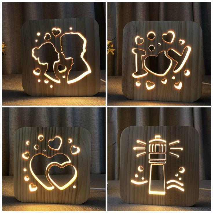Wood Led Night Lighting 3d Visual Lamp Lover Heart Decor Nightlight I Love You Usb Table Desk Lamp Bedroom Led Kid Gift Iy801101 Lampe Ideen Holz Kreativ Moderne Lampen Holz Herz
