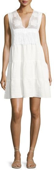 Miguelina Luce Linen Lace-Inset Dress, White
