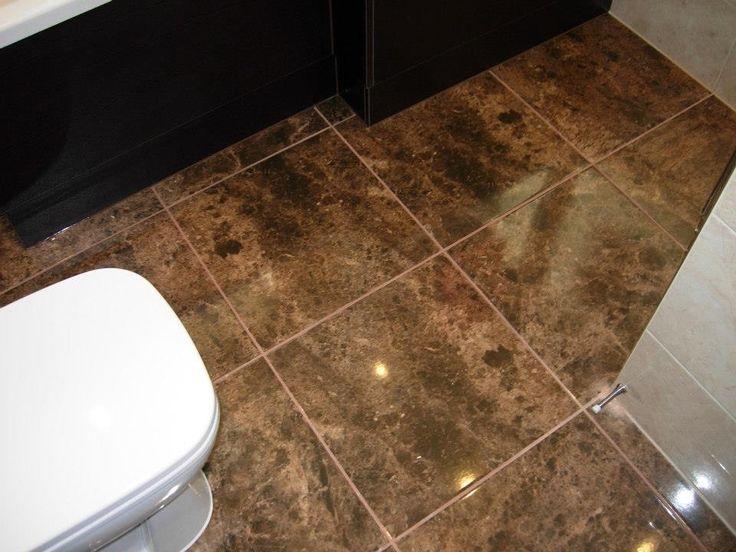 The dark gloss floor tiles contrast with the lighter wall tiles.  http://www.ppmsltd.co.uk