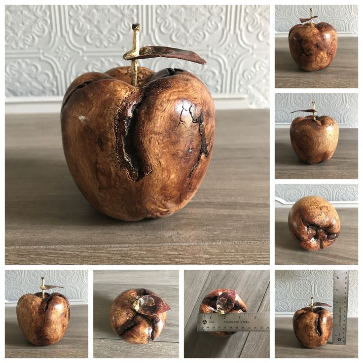 This handmade wooden apple was made from the knot of a live oak tree. #teacherappreciation #woodenapple #Apple #anappleaday #decorativeapple #carvedapple #tablescape #tabletop #tabledecoration #holidaygift #autumn #falldecor #fallwinter2017 #holidaydecor