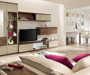 artful storage in modern beige living room