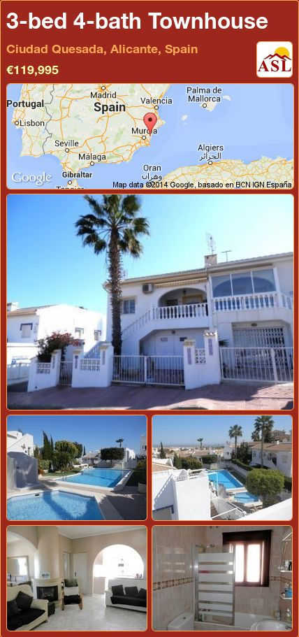 3-bed 4-bath Townhouse in Ciudad Quesada, Alicante, Spain ►€119,995 #PropertyForSaleInSpain