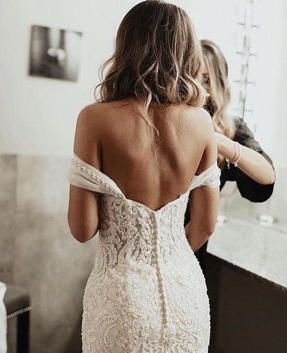 Off the shoulder lace crochet sexy wedding dress #wedding #weddings #weddingdres…
