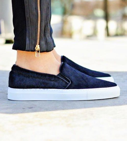 Axel Arigato slip-on sneaker made in black pony hair with black leather  trim #