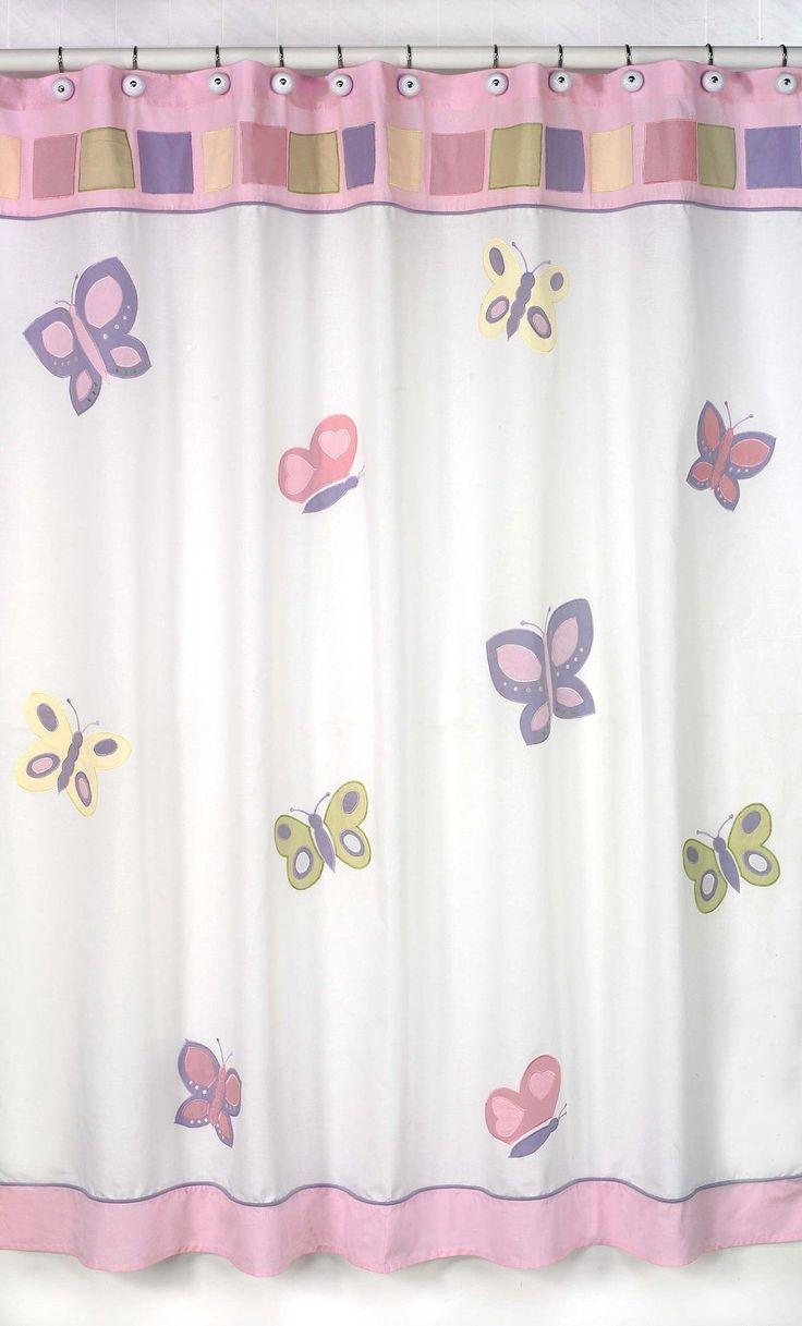 Light pink ruffle shower curtain - Butterfly Shower Curtain