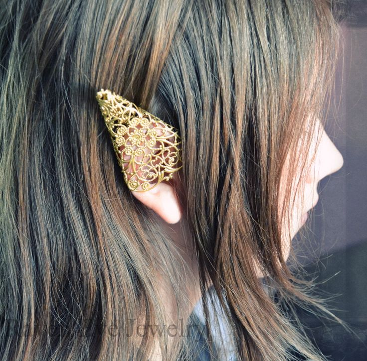 Elf Ear Cuff Ornate Brass Filigree Elven Ear Tip Cover One piece only. $22.00, via Etsy.