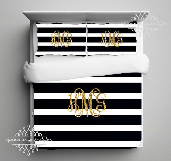 Hey, I found this really awesome Etsy listing at https://www.etsy.com/listing/240603216/gold-monogram-bedding-black-and-white