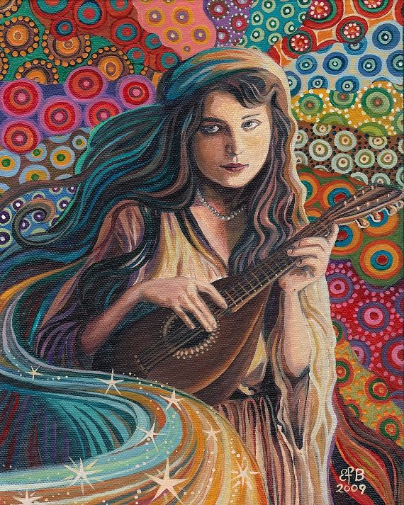 The Muse of Music - Art Nouveau Gypsy Goddess 8x10 Print. $15.00, via Etsy.