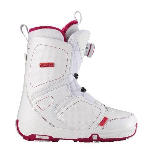 Salomon Snowboards Women's Pearl Boa Snowboard Boots - White/ Light Rubi 26.5 by Salomon. $189.90. With quick dial closure system, the Salomon Snowboards Women's Pearl Boa Snowboard Boots are a cinch to slip on and off. The cozy liners are made with multi-density Feel Good foam that surrounds your foot evenly in an anti-microbial environment to minimize odor. Underneath, the Mystic Fusion footbeds are pre-shaped to hold your foot in a stable, neutral position no m...