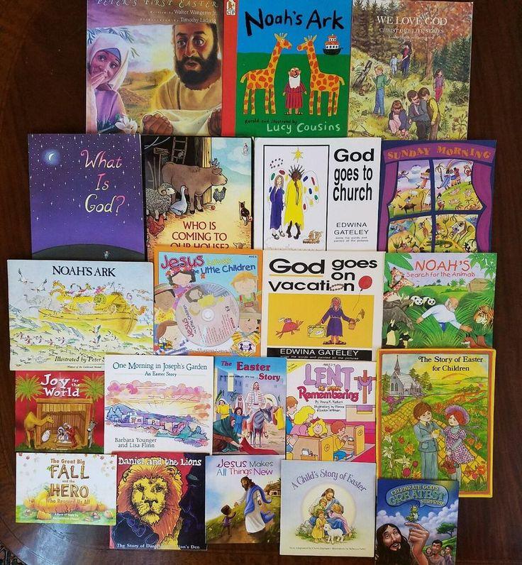 LOT OF 22 CHILDREN'S CHRISTIAN Picture BOOKS Preschool Sunday School EASTER