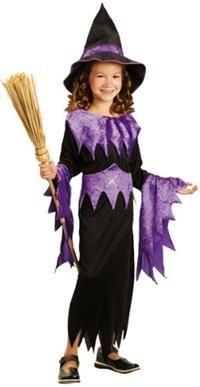 Cadı Kostümü, Mor 4-6 Yaş