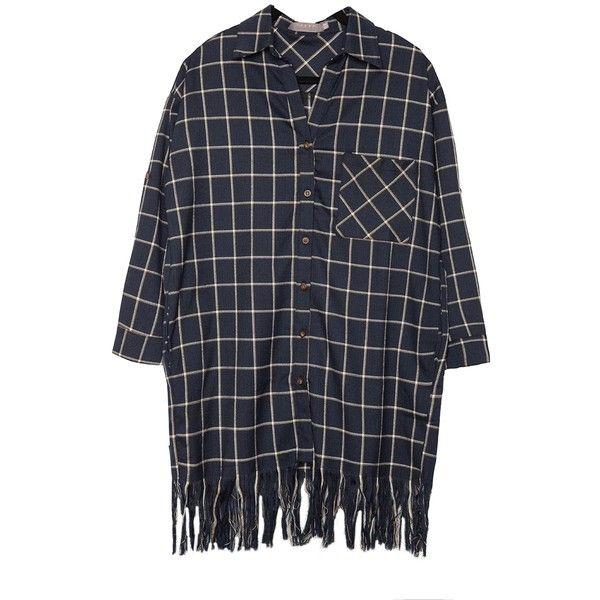 Plaid Fringe Shirt Dress (1.440 CZK) ❤ liked on Polyvore featuring dresses, tops, shirts, loose shirt dress, plaid shirt dresses, long plaid shirt dress, button front dress and button front shirt dress