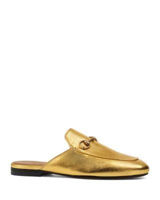 Gucci Princetown Metallic Slippers | Bloomingdale's