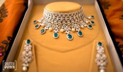 engagement necklace set , diamonds and rubies set for Indian bride