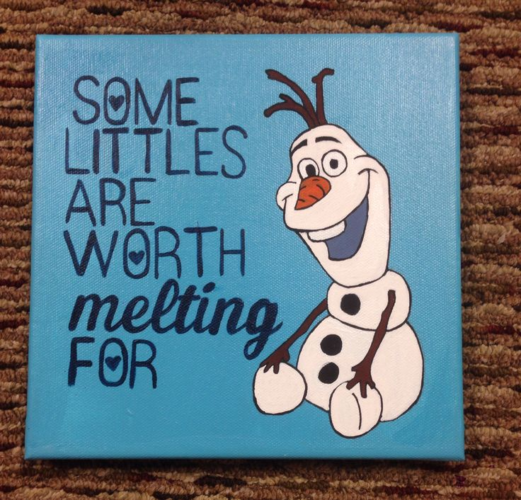 Big little crafting. Olaf from frozen. Canvas painting. Sorority craft ideas