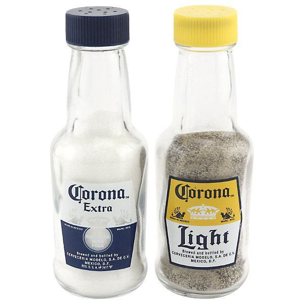 Show your love for everyone's favorite South of the Border brew with these salt and pepper shakers shaped like Corona bottles.