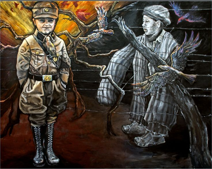 """Judith Dazzo painting called  """"The Chosen One"""" ...6ft by 8ft. This painting shows the 2 Nazi uniforms for children, One is worn by the """"Hitler Youth Army"""" boy, the other is worn by a child living in a Death Camp. The light emphasizes the reverance for the young soldiers.  The ravens are leaving the boy from the camp and moving toward the Hitler youth.  Many young people died towards the end of WW2. Young boys and old men fought for Hitler."""