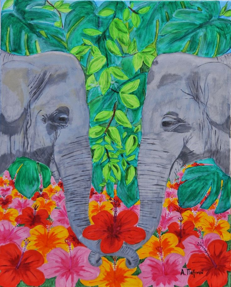 Alexandras craft and werk: Elephants (and  Hibiscus) Acrylpainting 40x50cm