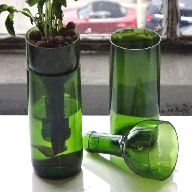 Self Watering Wine Bottle Planter Hand Cut Wine Bottle