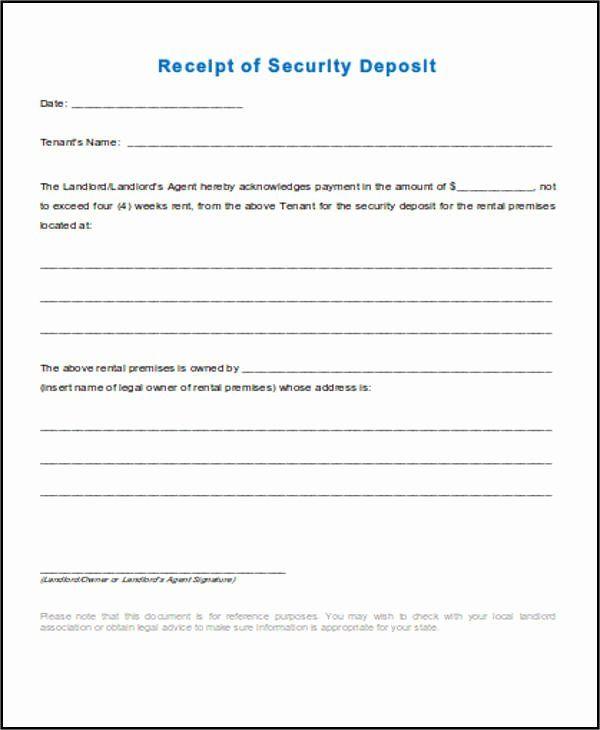 Security Deposit Receipt Template In 2020 Receipt Template Free