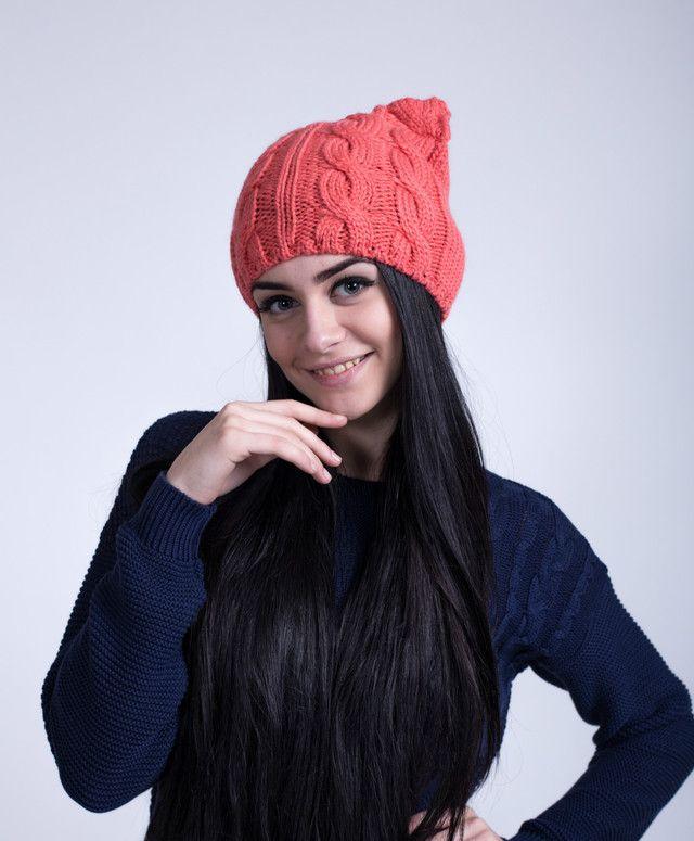 Веселая женская шапка с ушками кошки кораллового цвета - купить по лучшей цене в…